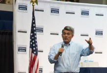 Sen. Cory Gardner addressing a town hall at Colorado Christian University, August 2017. (Photo by Phil Cherner)