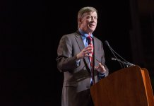 John Hickenlooper speaks at an event in 2014 in Denver. (Photo by Hans Watson via Flickr: Creative Commons)