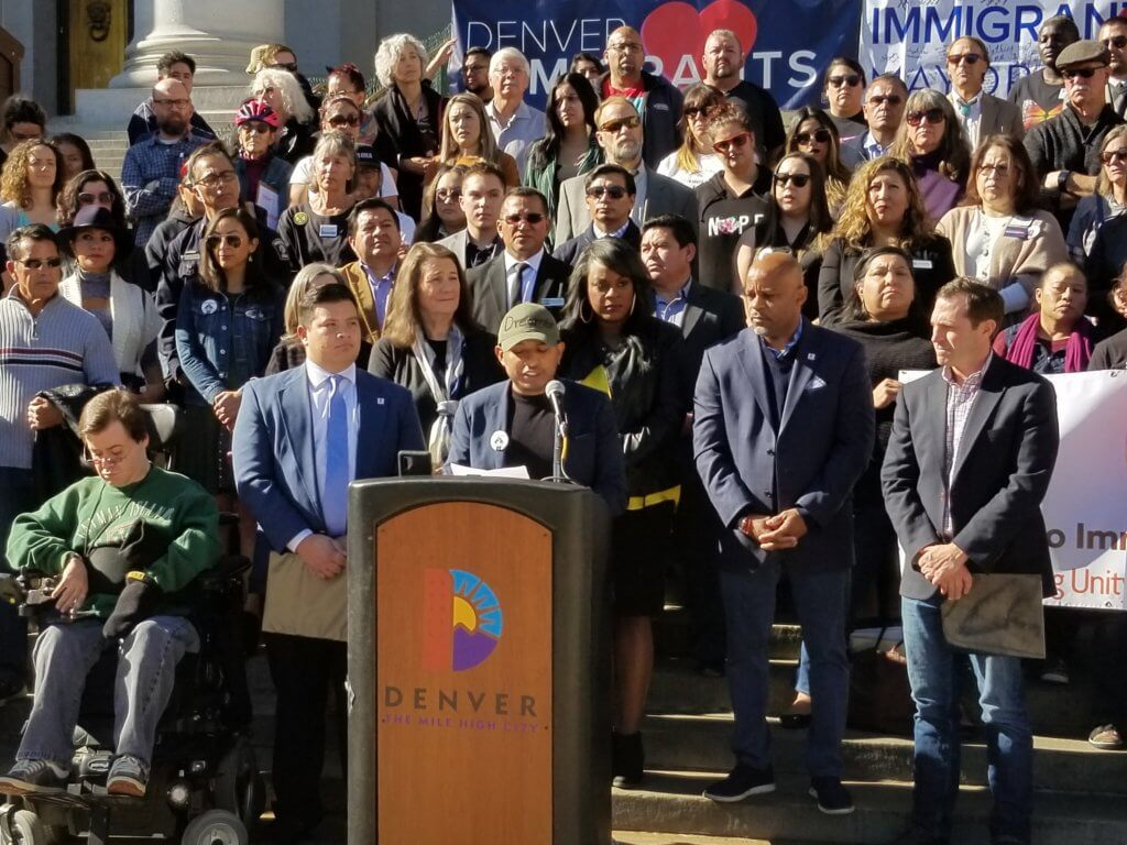 Alejandro Flores, a business owner and undocumented immigrant, speaks in favor of the DACA program on Nov. 8, 2019 in Denver. (Photo by Forest Wilson)