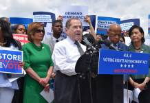 """Public Citizen."" Rep. Jerry Nadler (D-N.Y.) speaks at a press conference at the House Triangle in Washington, D.C., to call for reforms to restore voting rights on June 25, 2019. (Photo by Samantha Lai via Flickr: Creative Commons)"
