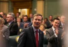 John Hickenlooper at his 2017 State of the State address. (Photo by Allen Tian)