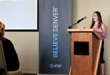 Aimee Resnick, Colorado Youth Advisory Council member, speaks to a group gathered for the Believe Denver Initiative on Sept. 17. (Photo by Forest Wilson)