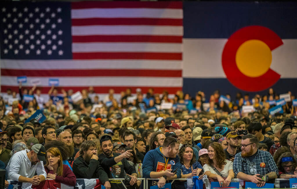 Thousands of people gathered to hear Democratic presidential primary frontrunner Bernie Sanders speak at the Colorado Convention Center on Feb. 16, 2020. (Photo by Evan Semón)