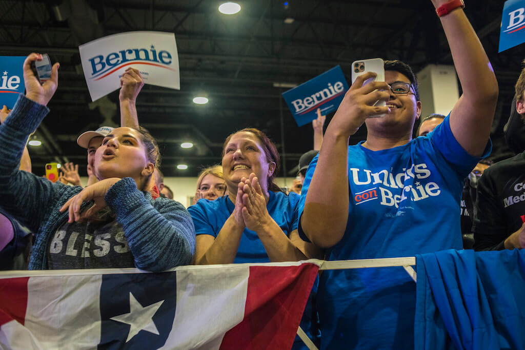 Bernie Sanders' supporters at Feb. 16, 2020 rally in the Colorado Convention Center.