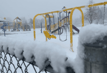 The playground at Carson Elementary School in Denver sits empty on Mar. 19. 2020. Colorado schools are closed through at least April 17 by order of Gov. Jared Polis.