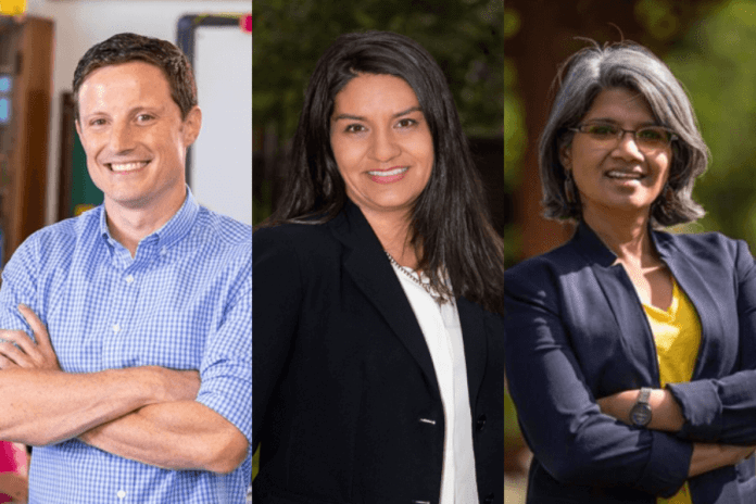 Scott Baldermann, Diana Romero Campbell, and Radhika Nath are seeking the District 1 seat on the Denver school board.