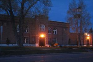 Custer County Courthouse, Westcliffe, before Dark Sky-friendly lighting was installed.