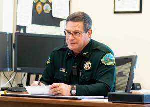 Rio Blanco County Sheriff Anthony Mazzola blasts former Rangely Police Lt. Roy Kinney – not for killing Daniel Pierce, but for disrespecting jurisdictional boundaries during the December 2018 pursuit. Kinney supported Mazzola when he shot and killed a suspect exactly 14 years prior. (Photo by Caitlin Walker)