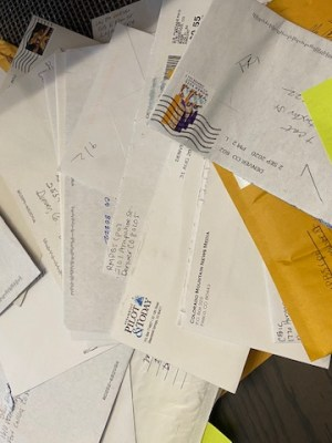 Letters and padded envelopes were sent from one end of the state to another. Details about when and where they were sent from were tracked, as well as when they arrived at their destination.