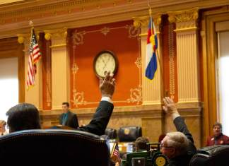 Final votes on the last day of Colorado's 2019 state legislative session on May 3, 2019. (Photo by Mark Castillo)