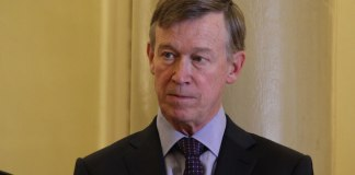 John Hickenlooper at an October 2018 news conference at the state Capitol. (Photo by Rachel Lorenz for The Colorado Independent)