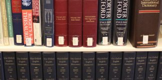 Thesauruses and dictionaries in the library of Araphaoe Community College in Littleton, Colo. on Wednesday, Oct. 17, 2018.