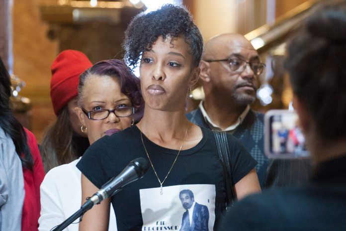 Natalia Marshall, the niece of Michael Marshall, spoke at a news conference to support cash bail reform on March 14, 2019.