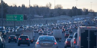 Traffic congestion on I-25 northbound. (Photo by John Herrick)