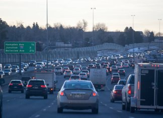Traffic congestion on I-25 northbound. (Photo by John Herrick)