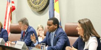 Rep. Joe Neguse, of Boulder, serves on the House Select Committee on the Climate Crisis at the University of Colorado Law School campus on Aug. 1, 2019. (Photo courtesy Sally Tucker)