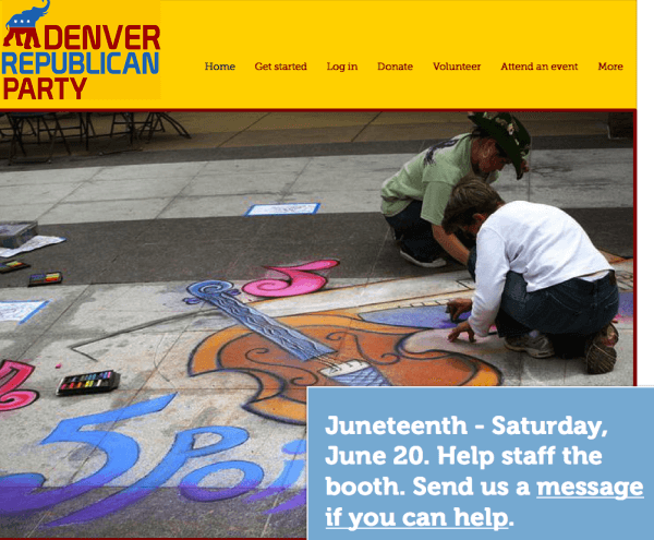 The Denver GOP website features an image of Juneteenth.