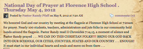 National Day of Prayer announcement at Florence High