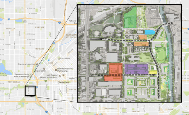The first phase of the Sun Valley redevelopment (in green) calls for about 130 mixed-income apartments. (Project map via Denver Housing Authority)