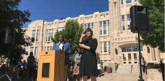 Denver school board Director Tay Anderson speaks at a press conference about removing police from schools on June 5.