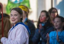 Greta Thunberg speaks to the crowd at the Climate Strike rally at Civic Center Park on Oct. 11, 2019. (Photo by Evan Semón)