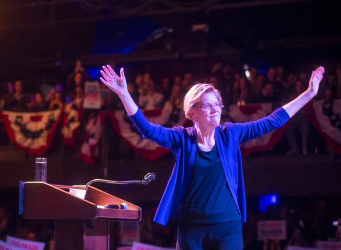 Sen. Elizabeth Warren at a campaign rally in Denver on Sunday, Feb. 23, 2020 at the Fillmore Auditorium. Photo: Evan Semón Photography)