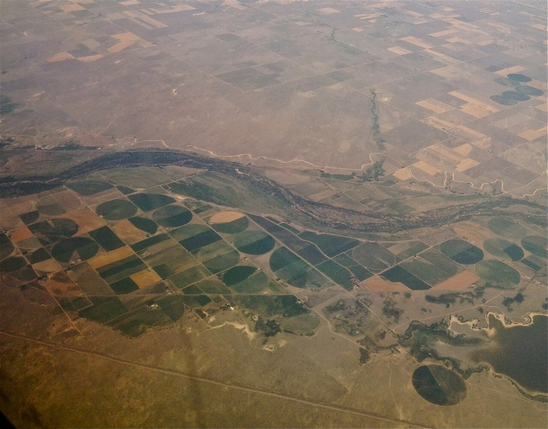 The plains around DIA were parched by the scorching 2012 drought, although groundwater pumping along the South Platte River enabled some farms to continue irrigating.