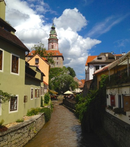 The Vlatava River, an important historic Bohemian trade route, runs through Český Krumlov.