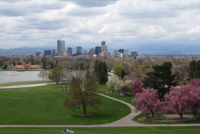 Denver's City Park with view of downtown skyline (Photo by Kari via Flickr:Creative Commons)