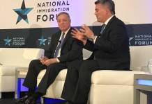 The National Immigration Forum, an immigrant rights group, honored Colorado GOP Sen. Cory Gardner with its Courage to Lead award on Nov. 7, 2019. Gardner was honored along with Democrat Sen. Dick Durbin. Both have supported bi-partisan immigration reform in past years. (Photo by Robin Bravender/The Newsroom)