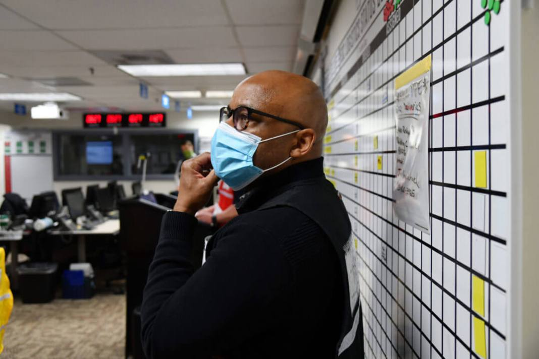 Denver Mayor Michael Hancock listens during the morning briefing at the Emergency Operations Center in the basement of the City and County Building in Denver, Colorado on Thursday. April 16, 2020. (Photo by Hyoung Chang/The Denver Post)