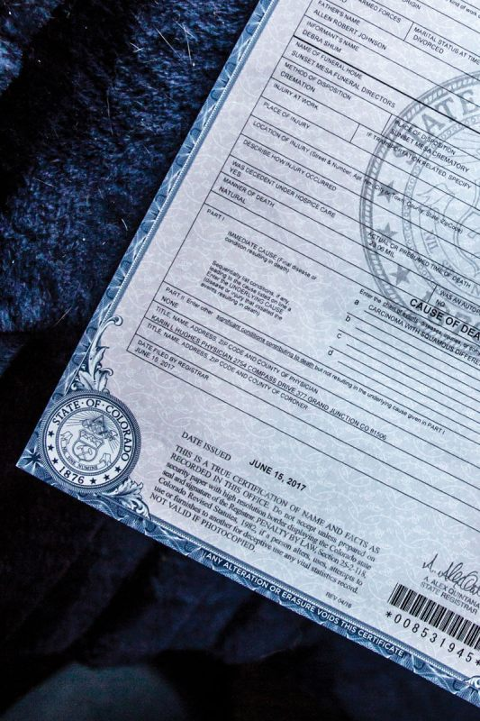 The death certificate of LoraLee Johnson, which lists cremation as Sunset Mesa Funeral Directors' method of disposition. (Luna Anna Archey/High Country News)