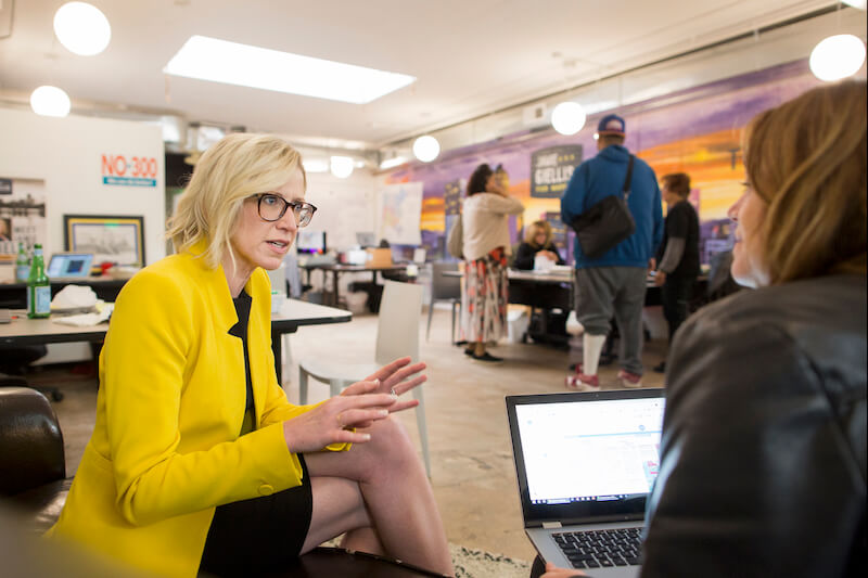 Denver Mayoral candidate Jamie Giellis meets with her campaign manager Meghan Dougherty at their campaign headquarters in Denver, Colo., Thursday, May 23, 2019. (Photo by Bear Gutierrez)