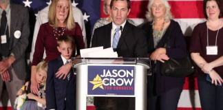 Jason Crow gives a victory speech at his election night party Nov. 8 at the Denver Tech Center DoubleTree hotel. The freshman congressman from Aurora was among those picked by House Speaker Nancy Pelosi on Jan. 15, 2020 to present the House's case for the impeachment of President Donald Trump. (Photo by Evan Semón)