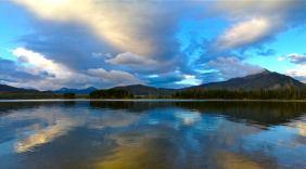 An iPhone pano shot, taken at dawn along the Dillon Dam Road, near Frisco, Colorado.