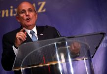 """Former Mayor Rudy Giuliani of New York speaking at a forum titled """"Countering Iran's Nuclear Terrorist Threats"""" hosted by the Iranian American Community of Arizona in Phoenix, Arizona on April 25, 2014. (Photo by Gage Skidmore via Flickr:Creative Commons)"""