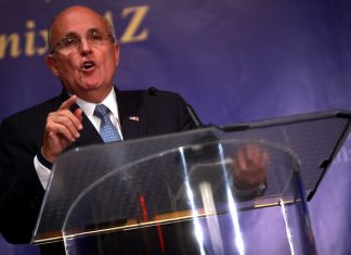 "Former Mayor Rudy Giuliani of New York speaking at a forum titled ""Countering Iran's Nuclear Terrorist Threats"" hosted by the Iranian American Community of Arizona in Phoenix, Arizona on April 25, 2014. (Photo by Gage Skidmore via Flickr:Creative Commons)"