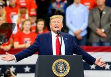 MINNEAPOLIS, MN - OCTOBER 10: U.S. President Donald Trump speaks on stage during a campaign rally at the Target Center on October 10, 2019 in Minneapolis, Minnesota. (Photo by Stephen Maturen/Getty Images)