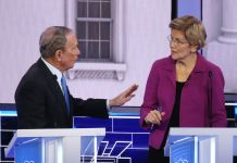 LAS VEGAS, NEVADA - FEBRUARY 19: Democratic presidential candidates former New York City Mayor Mike Bloomberg and Sen. Elizabeth Warren (D-MA) speak during the Democratic presidential primary debate at Paris Las Vegas on February 19, 2020 in Las Vegas, Nevada. Six candidates qualified for the third Democratic presidential primary debate of 2020, which comes just days before the Nevada caucuses on February 22. (Photo by Mario Tama/Getty Images)