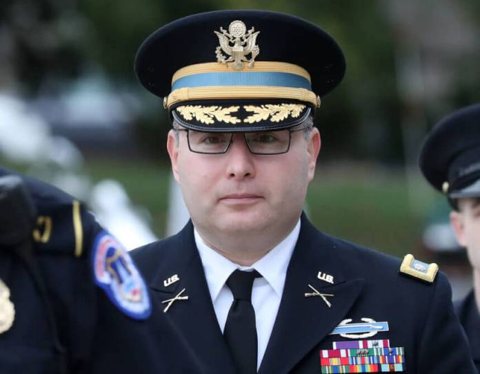 WASHINGTON, DC - OCTOBER 29: Army Lt. Col. Alexander Vindman, director for European Affairs at the National Security Council, arrives at the U.S. Capitol on October 29, 2019 in Washington, DC. Vindman testified Tuesday, Nov. 19, 2019 before the House Intelligence Committee as part of the impeachment inquiry against President Trump. (Photo by Mark Wilson/Getty Images)