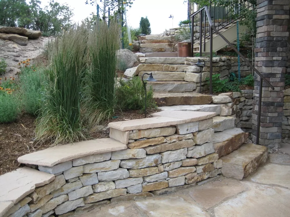 Stone Steps Landscaping Colorado Springs Stone Pathway Design | Installing Railing On Stone Steps