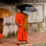 Monks walking with umbrellas