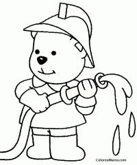 Colorear Osito bombero (Bomberos), dibujo para colorear gratis