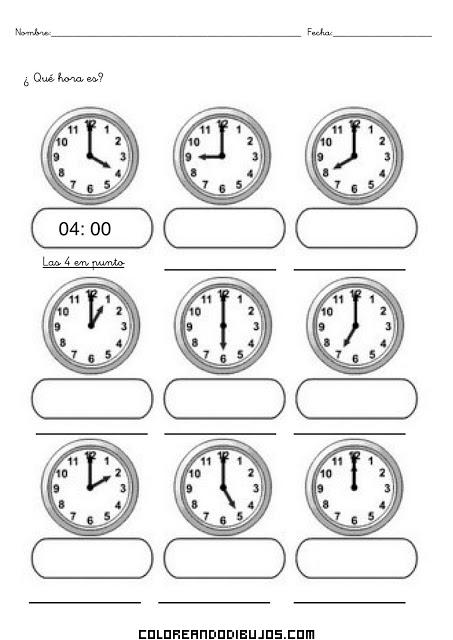 Aprende las horas del reloj y colorea