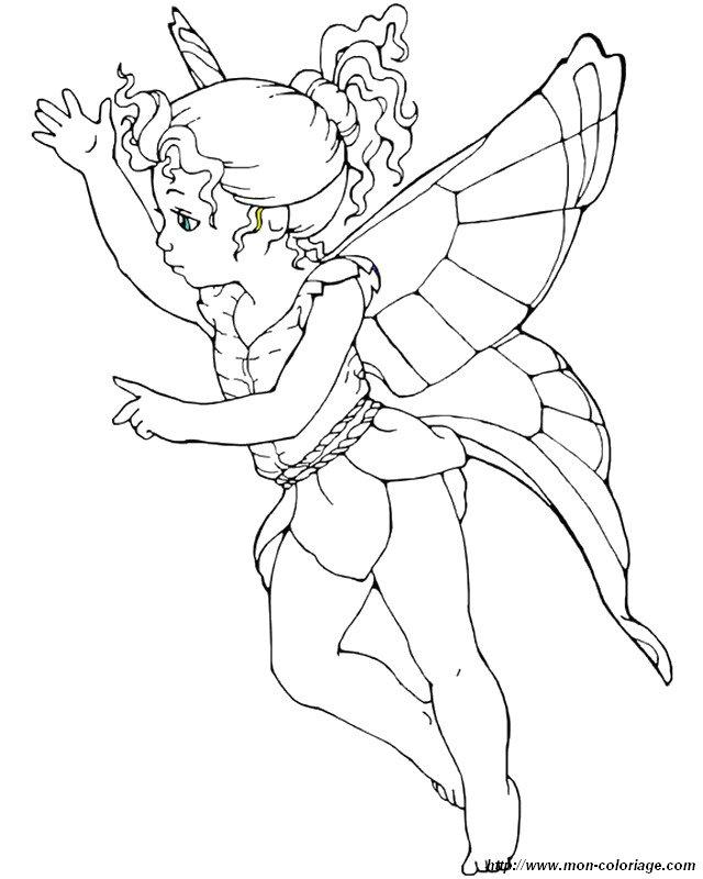 Colorear Hada, dibujo pequena hada