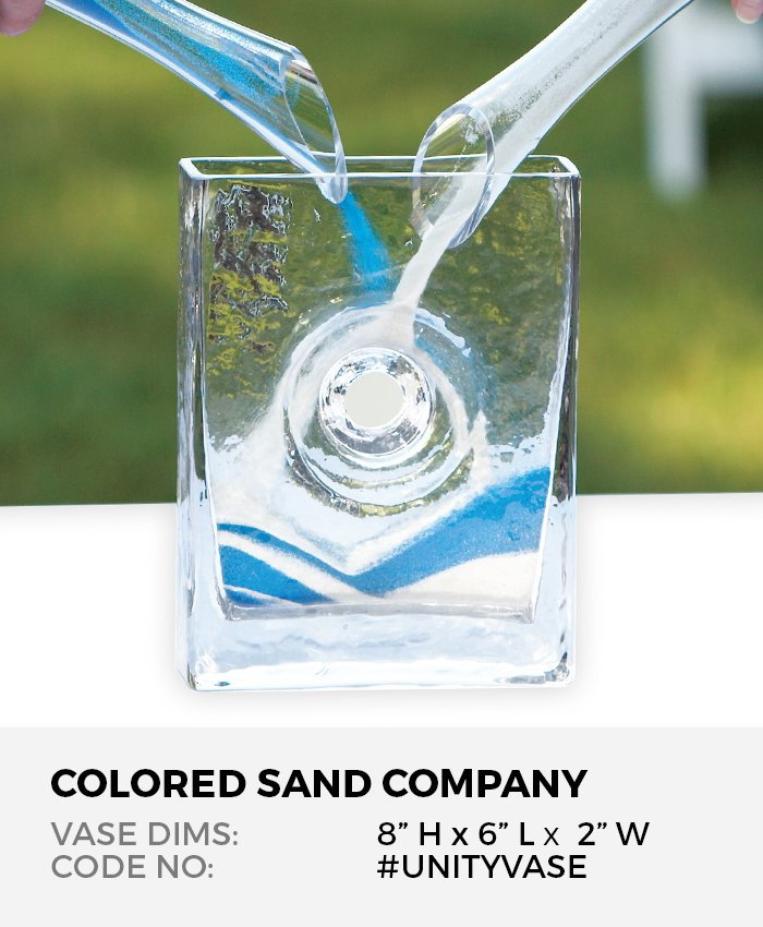 Unity Sand Ceremony Clear Glass Eternity Vase 8H x 6L x