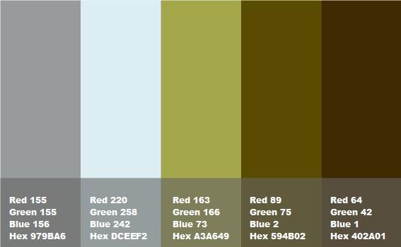 composizione grigio azzurro verde muschio marrone