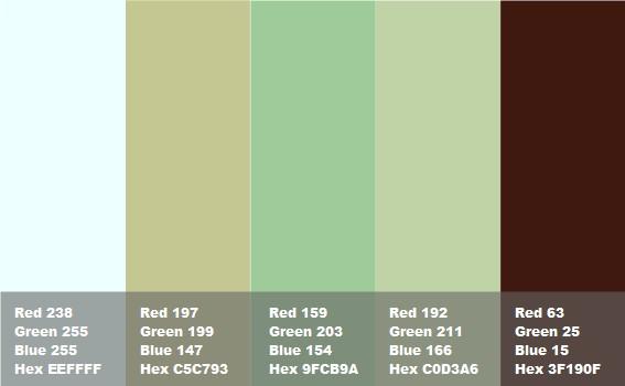 tabella con colore marrone abbinato a tonalit di verde