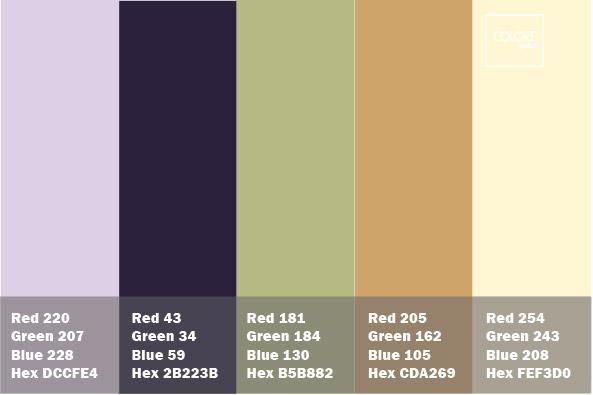 Tabella di 5 colori per pareti abbinati tra di loro