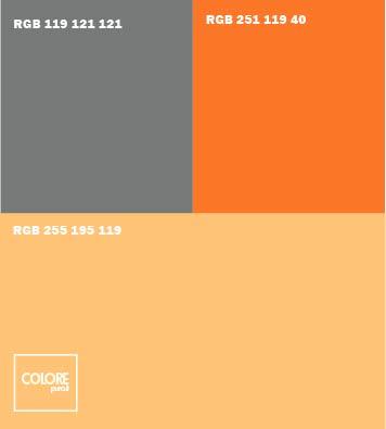 Abbinamento colori aranncione chiaro grigio arancione